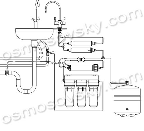 схема подключения фильтра обратного осмоса с минерализатором