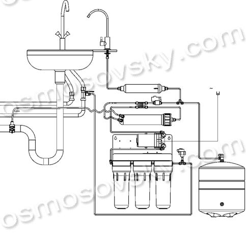 Схема подключения пятиступенчатого фильтра обратного осмоса с помпой